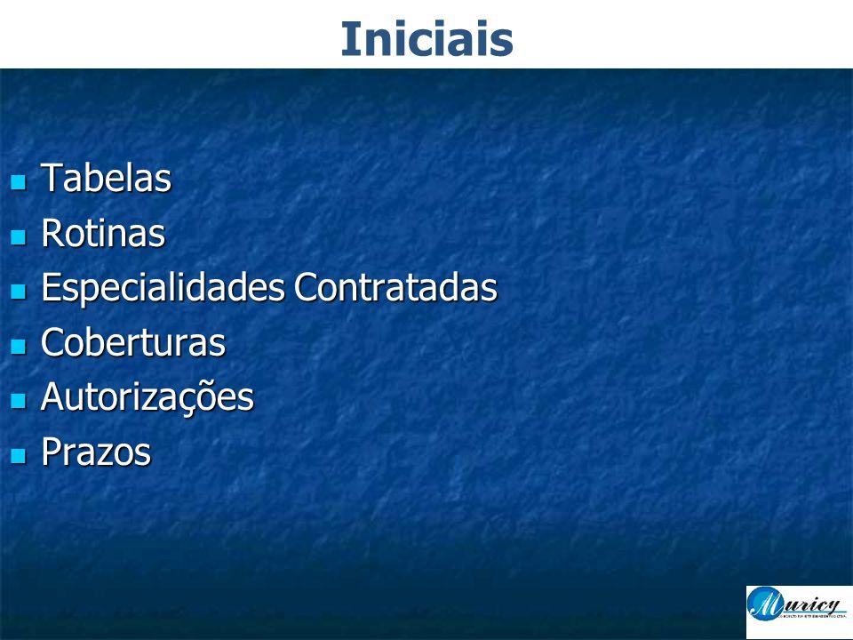 Iniciais Tabelas Rotinas Especialidades Contratadas Coberturas