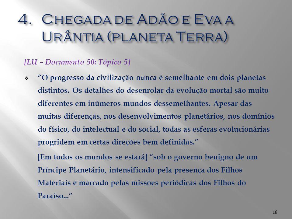 Chegada de Adão e Eva a Urântia (planeta Terra)