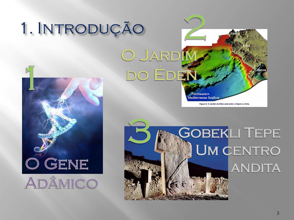 2 1 3 1. Introdução O Jardim do Éden O Gene Adâmico Gobekli Tepe