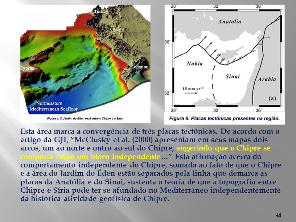 Esta área marca a convergência de três placas tectônicas