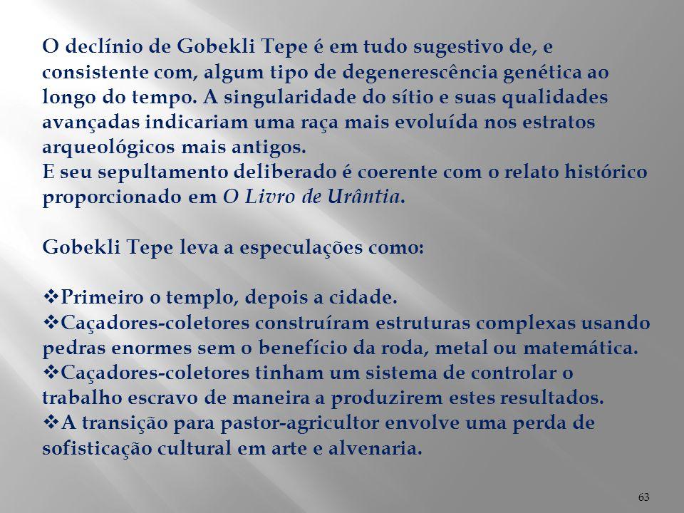 O declínio de Gobekli Tepe é em tudo sugestivo de, e consistente com, algum tipo de degenerescência genética ao longo do tempo. A singularidade do sítio e suas qualidades avançadas indicariam uma raça mais evoluída nos estratos arqueológicos mais antigos.