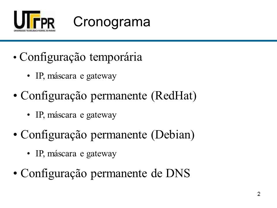 Cronograma Configuração permanente (RedHat)