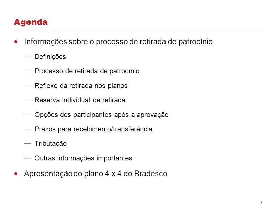 Agenda Informações sobre o processo de retirada de patrocínio
