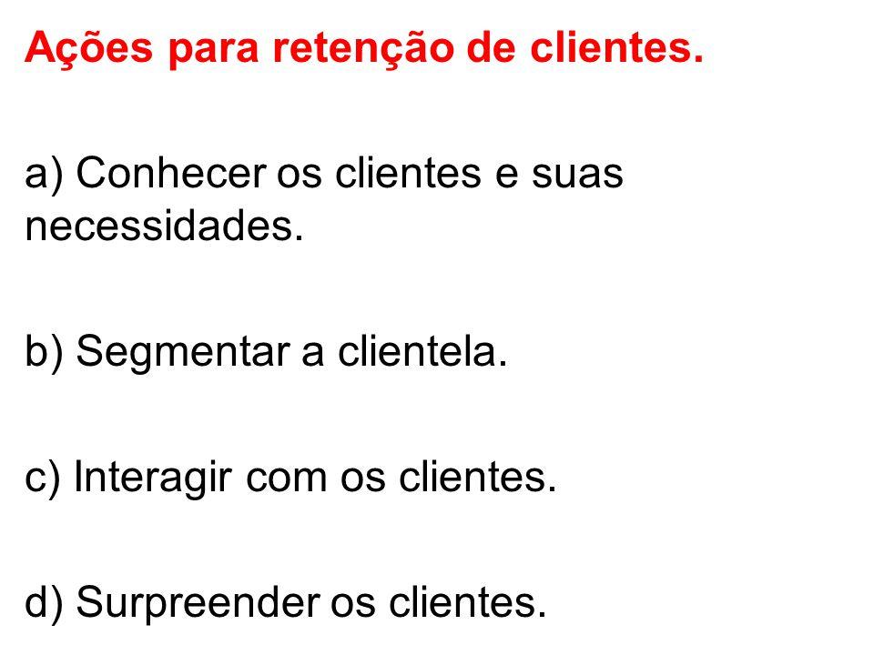 Ações para retenção de clientes.