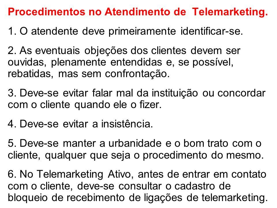 Procedimentos no Atendimento de Telemarketing.