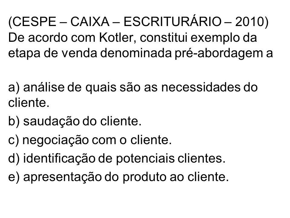 a) análise de quais são as necessidades do cliente.