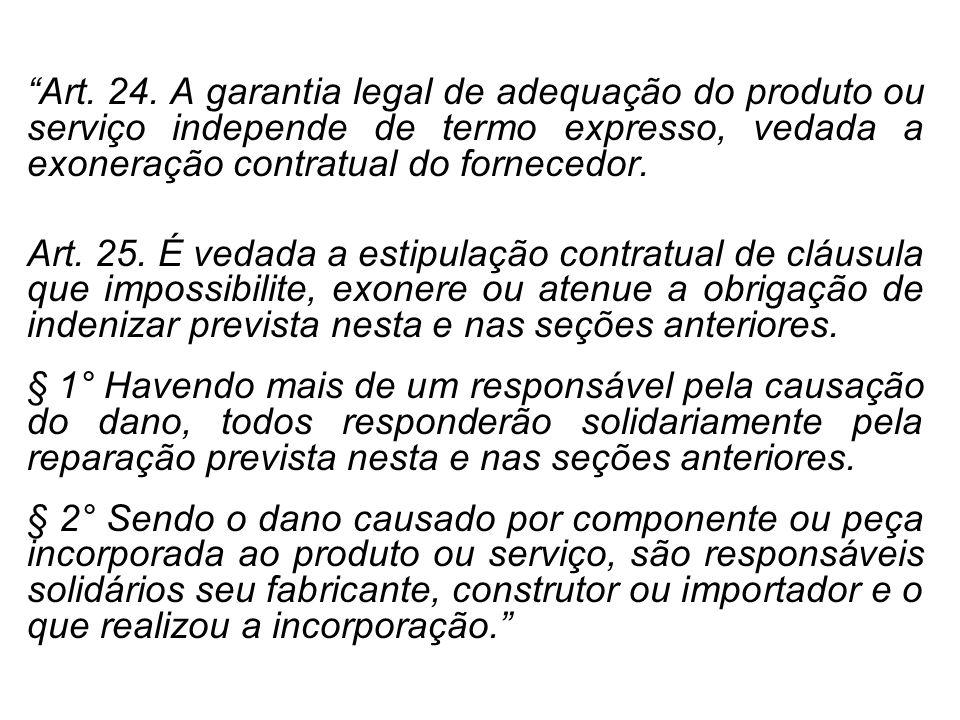 Art. 24. A garantia legal de adequação do produto ou serviço independe de termo expresso, vedada a exoneração contratual do fornecedor.