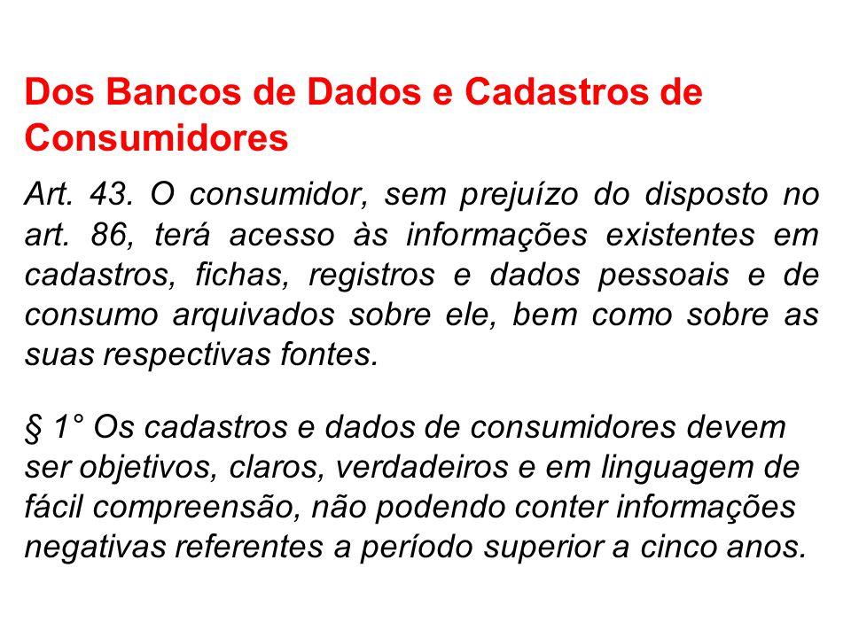 Dos Bancos de Dados e Cadastros de Consumidores