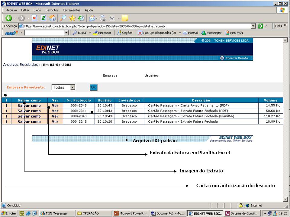 Arquivo TXT padrão Extrato da Fatura em Planilha Excel.