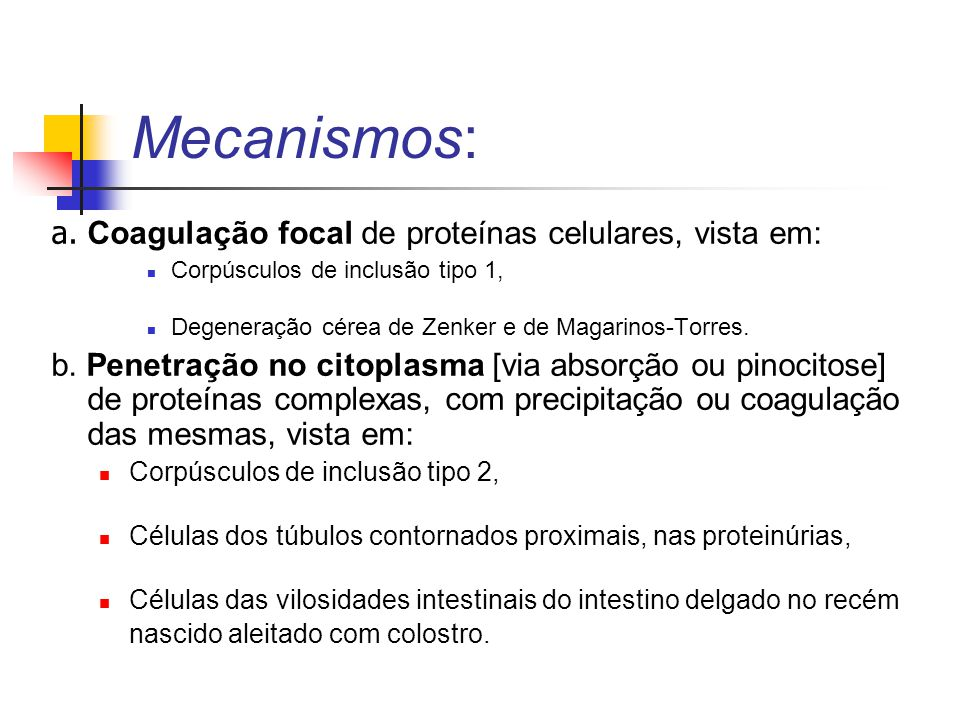 Mecanismos: a. Coagulação focal de proteínas celulares, vista em: