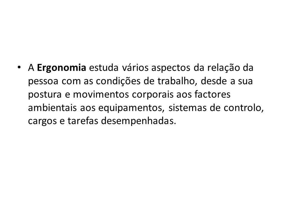 A Ergonomia estuda vários aspectos da relação da pessoa com as condições de trabalho, desde a sua postura e movimentos corporais aos factores ambientais aos equipamentos, sistemas de controlo, cargos e tarefas desempenhadas.