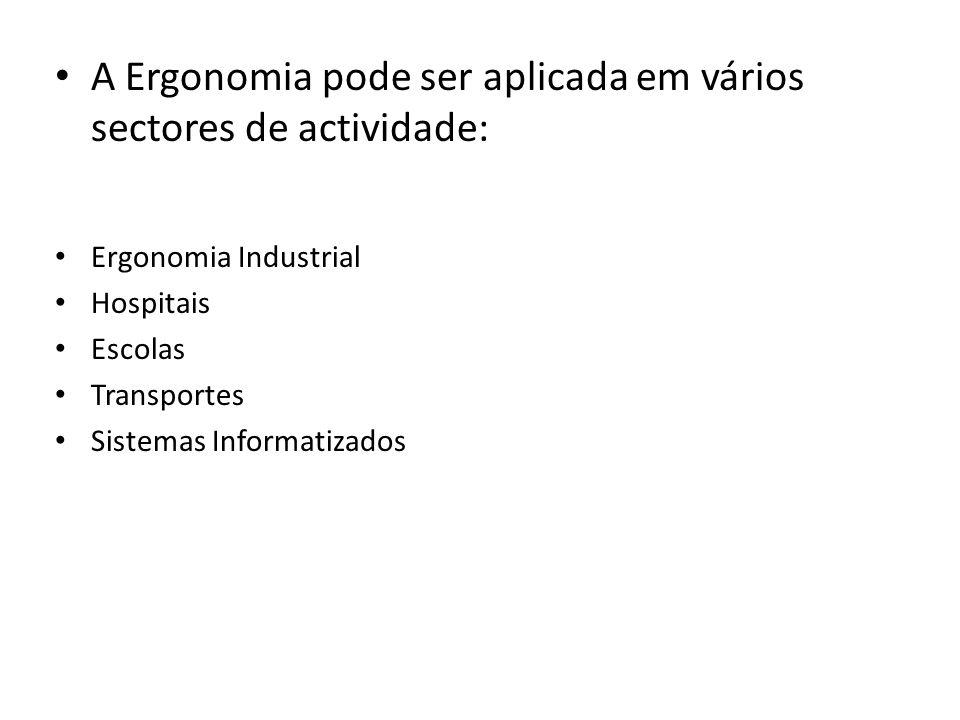 A Ergonomia pode ser aplicada em vários sectores de actividade: