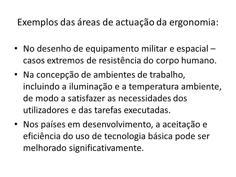Exemplos das áreas de actuação da ergonomia: