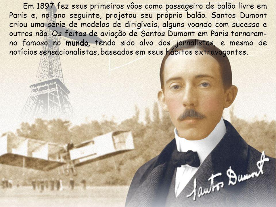 Em 1897 fez seus primeiros vôos como passageiro de balão livre em Paris e, no ano seguinte, projetou seu próprio balão.