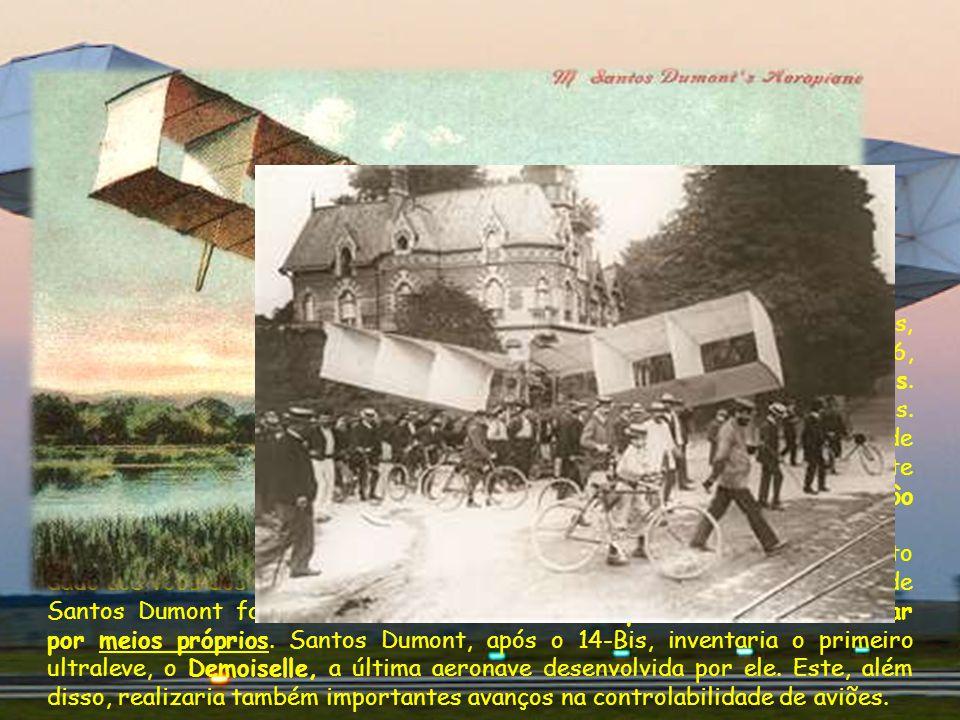 Após ter sido o primeiro homem a provar a dirigibilidade dos balões, Santos Dumont passou a se dedicar à aviação. Em 23 de outubro de 1906, Santos Dumont realizou um vôo público em Paris, em seu famoso avião 14-Bis. Esta aeronave percorreu uma distância de 221 metros. O 14-Bis, ao contrário do Flyer dos irmãos Wright, não precisava de trilhos, catapultas ou ventos contrários para alçar vôo, e é por isso que este vôo é considerado por vários especialistas em aviação como o primeiro vôo bem sucedido de um avião.