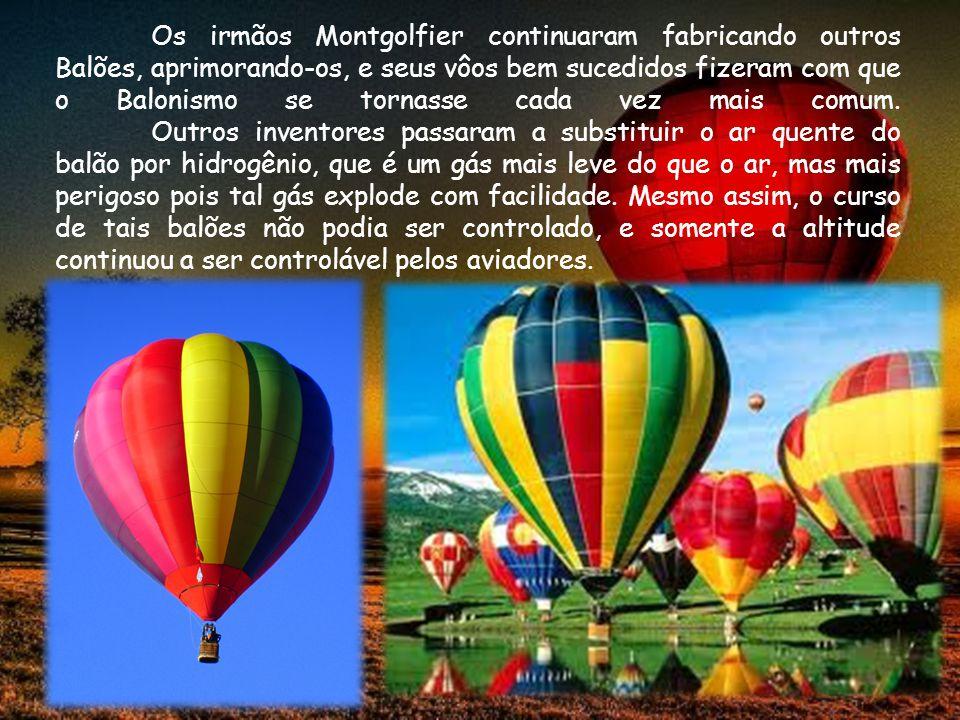 Os irmãos Montgolfier continuaram fabricando outros Balões, aprimorando-os, e seus vôos bem sucedidos fizeram com que o Balonismo se tornasse cada vez mais comum.
