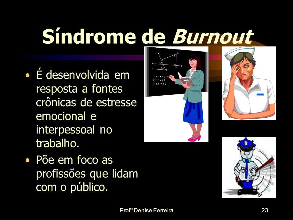 Síndrome de Burnout É desenvolvida em resposta a fontes crônicas de estresse emocional e interpessoal no trabalho.