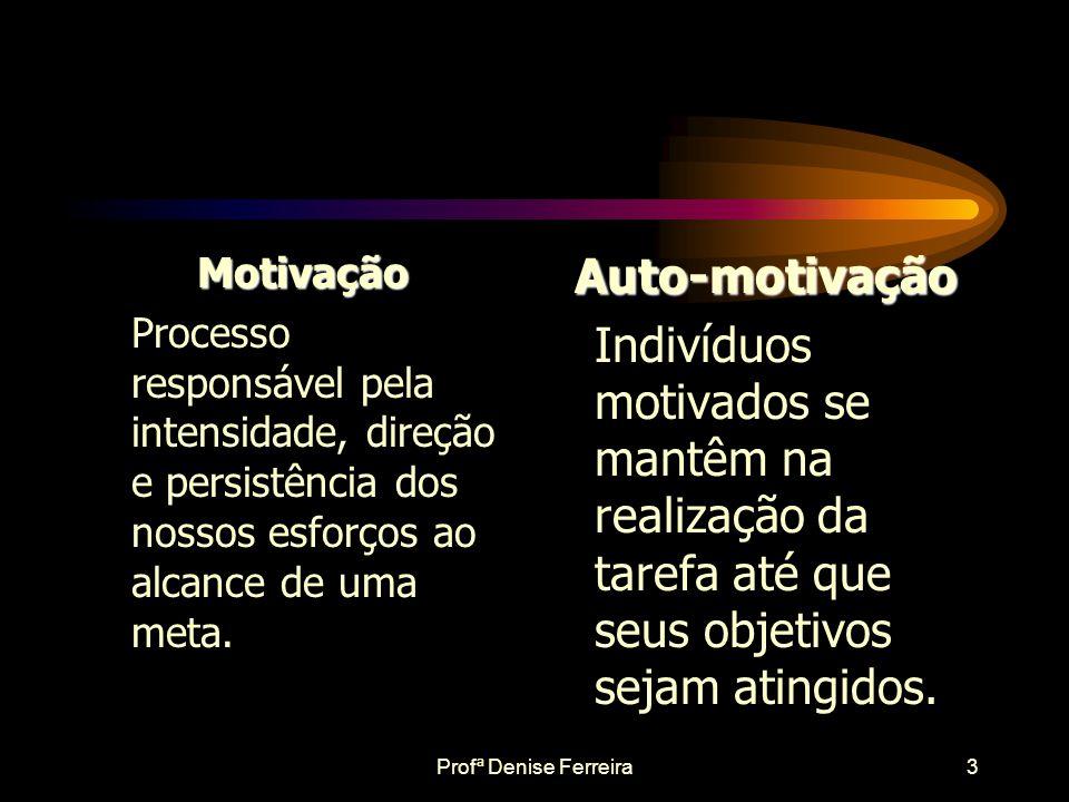 Motivação Processo responsável pela intensidade, direção e persistência dos nossos esforços ao alcance de uma meta.