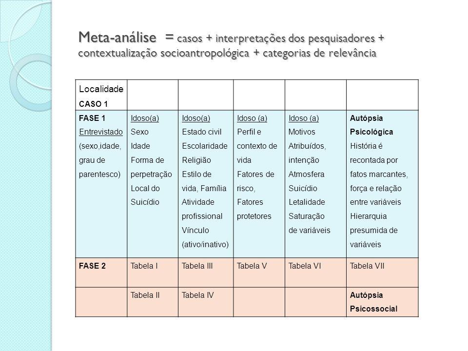 Meta-análise = casos + interpretações dos pesquisadores + contextualização socioantropológica + categorias de relevância