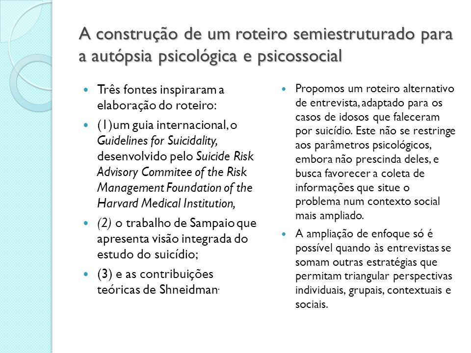 A construção de um roteiro semiestruturado para a autópsia psicológica e psicossocial