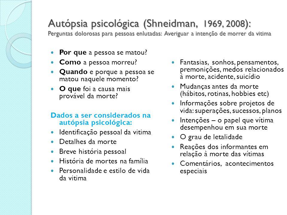 Autópsia psicológica (Shneidman, 1969, 2008): Perguntas dolorosas para pessoas enlutadas: Averiguar a intenção de morrer da vitima