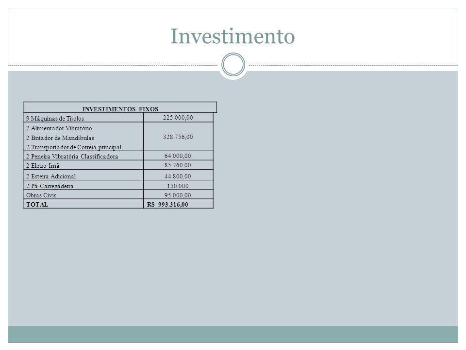 Investimento INVESTIMENTOS FIXOS 9 Máquinas de Tijolos 225.000,00
