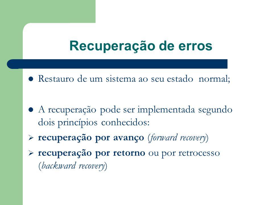 Recuperação de erros Restauro de um sistema ao seu estado normal;