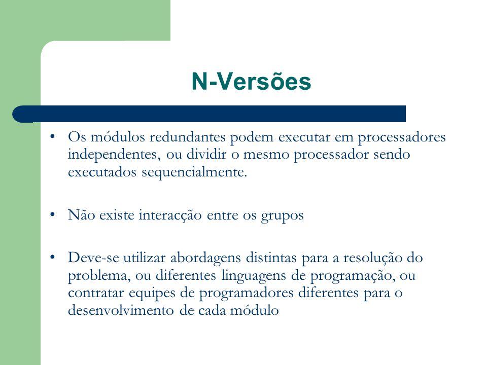 N-Versões Os módulos redundantes podem executar em processadores independentes, ou dividir o mesmo processador sendo executados sequencialmente.