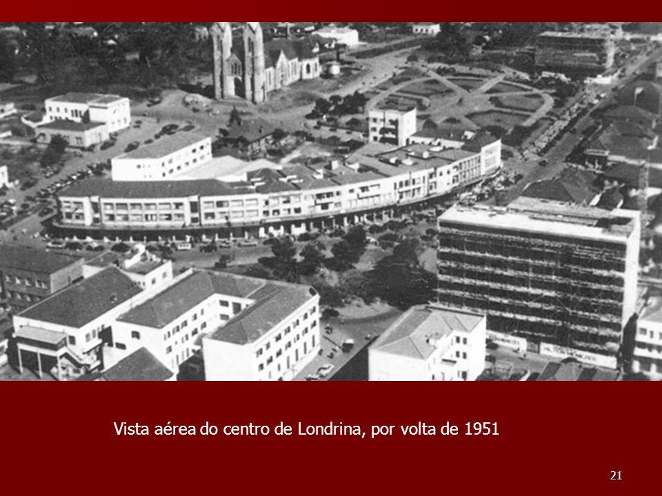 Vista aérea do centro de Londrina, por volta de 1951