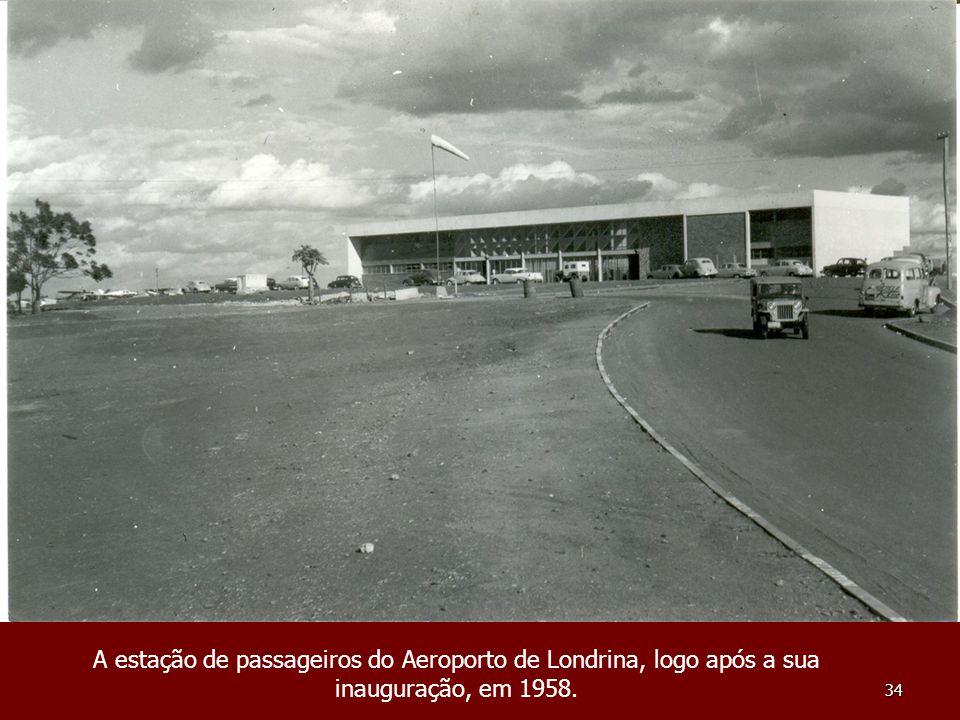A estação de passageiros do Aeroporto de Londrina, logo após a sua inauguração, em 1958.
