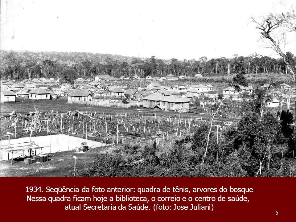 1934. Seqüência da foto anterior: quadra de tênis, arvores do bosque