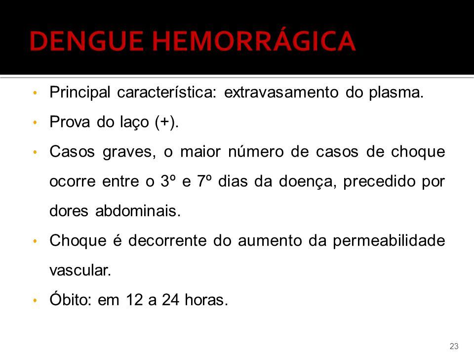 DENGUE HEMORRÁGICA Principal característica: extravasamento do plasma.