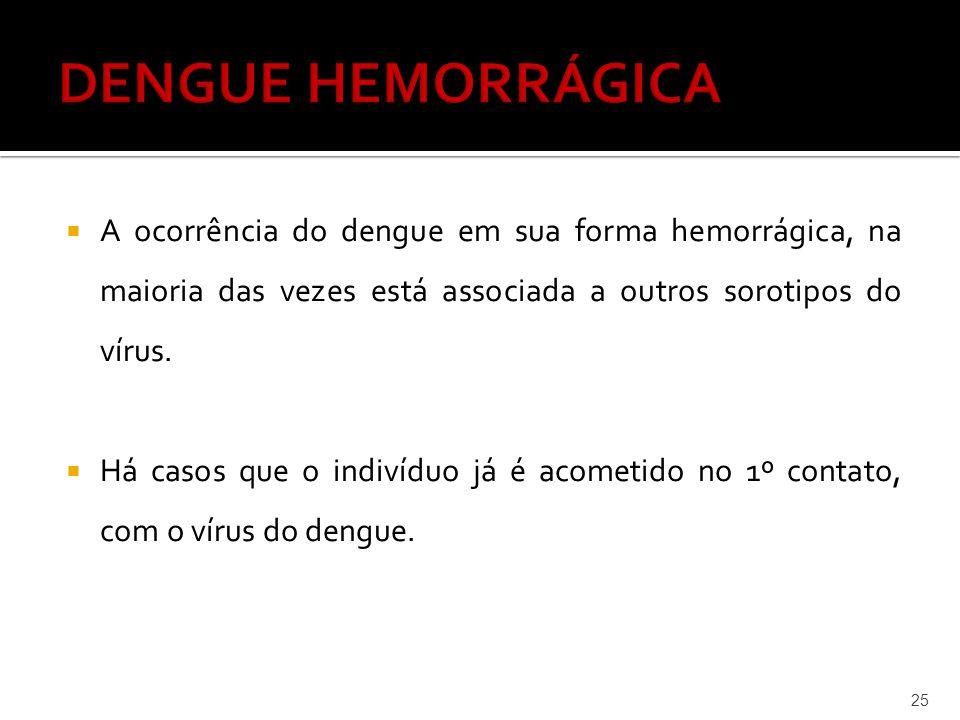 DENGUE HEMORRÁGICA A ocorrência do dengue em sua forma hemorrágica, na maioria das vezes está associada a outros sorotipos do vírus.