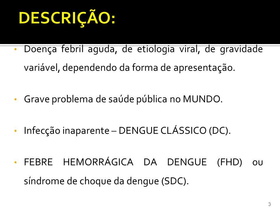 DESCRIÇÃO: Doença febril aguda, de etiologia viral, de gravidade variável, dependendo da forma de apresentação.
