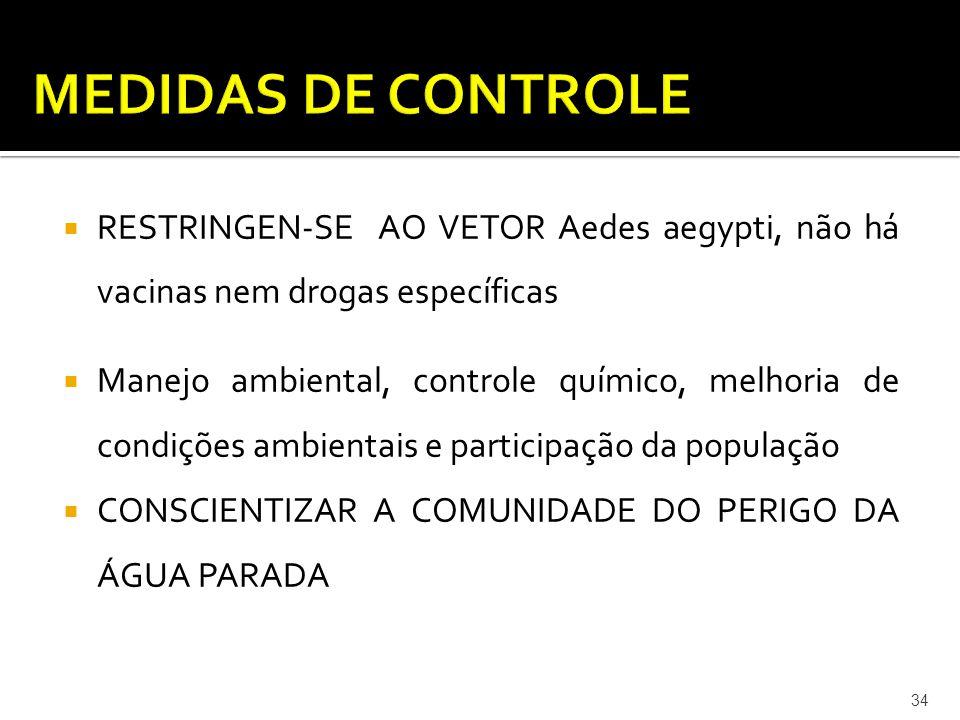 MEDIDAS DE CONTROLE RESTRINGEN-SE AO VETOR Aedes aegypti, não há vacinas nem drogas específicas.