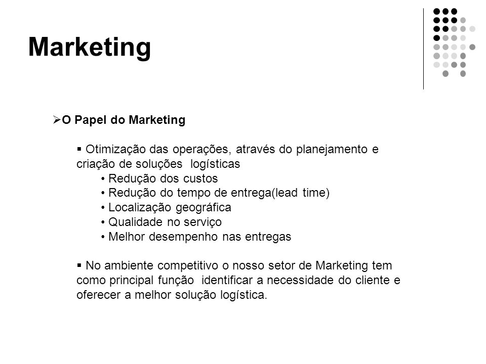 Marketing O Papel do Marketing