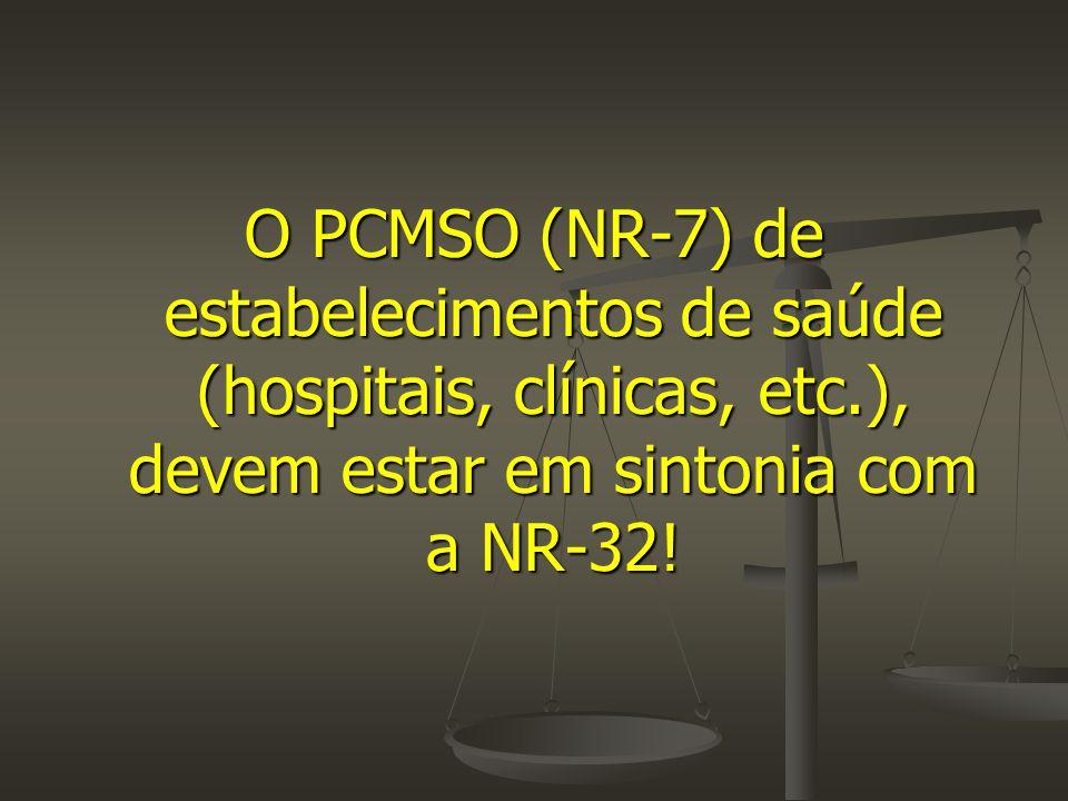 O PCMSO (NR-7) de estabelecimentos de saúde (hospitais, clínicas, etc
