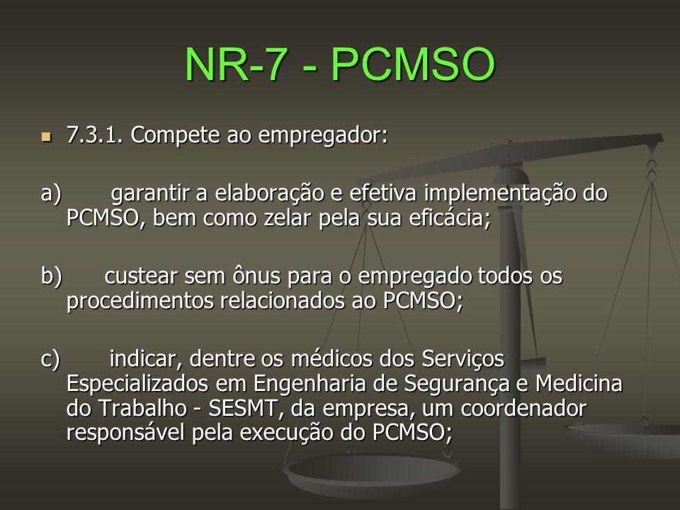 NR-7 - PCMSO 7.3.1. Compete ao empregador: