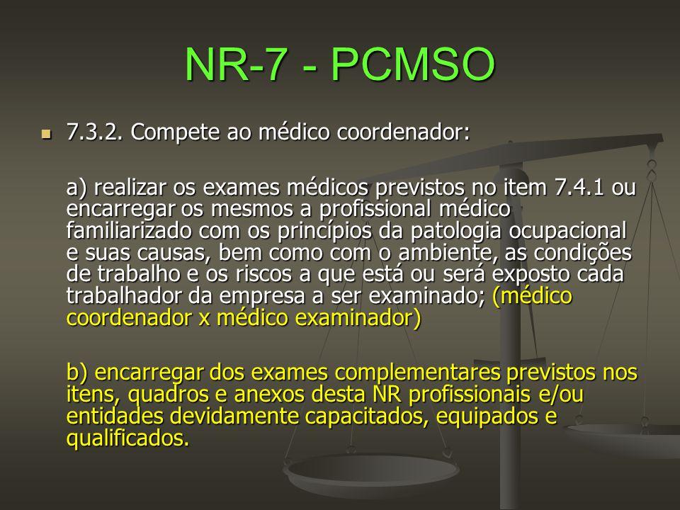 NR-7 - PCMSO 7.3.2. Compete ao médico coordenador: