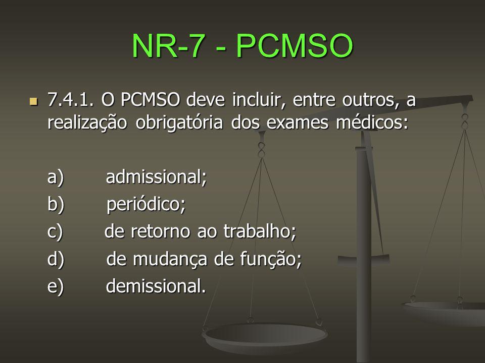 NR-7 - PCMSO 7.4.1. O PCMSO deve incluir, entre outros, a realização obrigatória dos exames médicos: