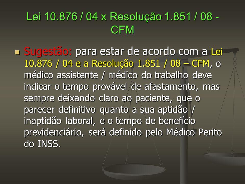 Lei 10.876 / 04 x Resolução 1.851 / 08 - CFM