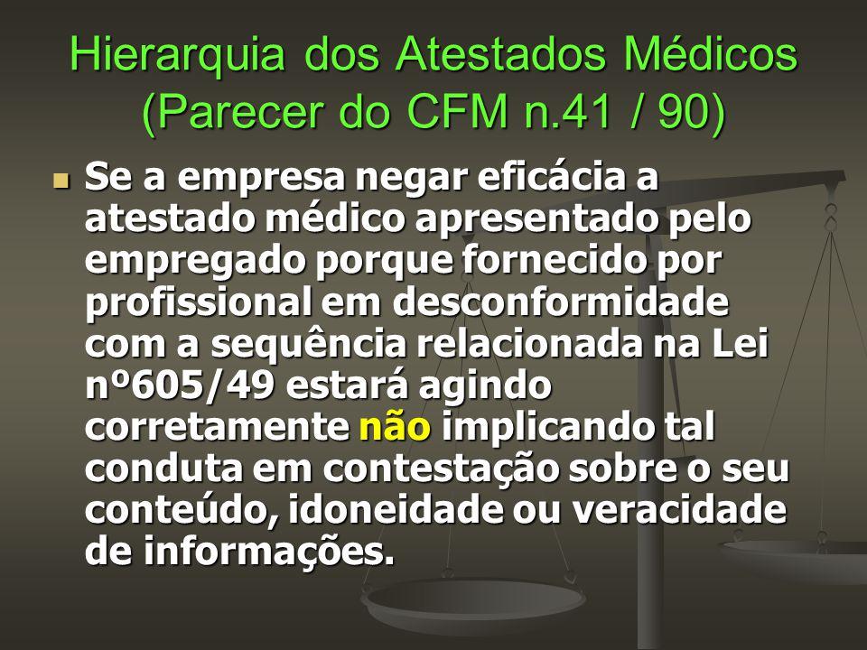 Hierarquia dos Atestados Médicos (Parecer do CFM n.41 / 90)