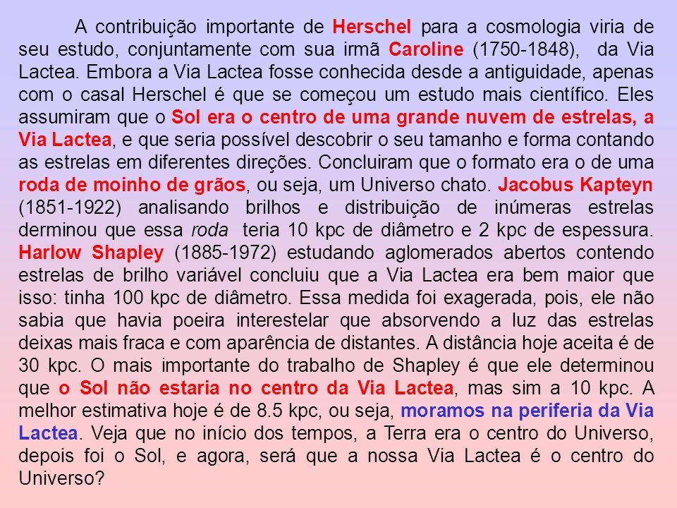A contribuição importante de Herschel para a cosmologia viria de seu estudo, conjuntamente com sua irmã Caroline (1750-1848), da Via Lactea.