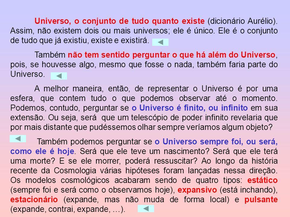 Universo, o conjunto de tudo quanto existe (dicionário Aurélio)
