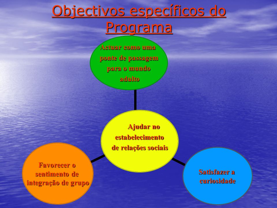 Objectivos específicos do Programa