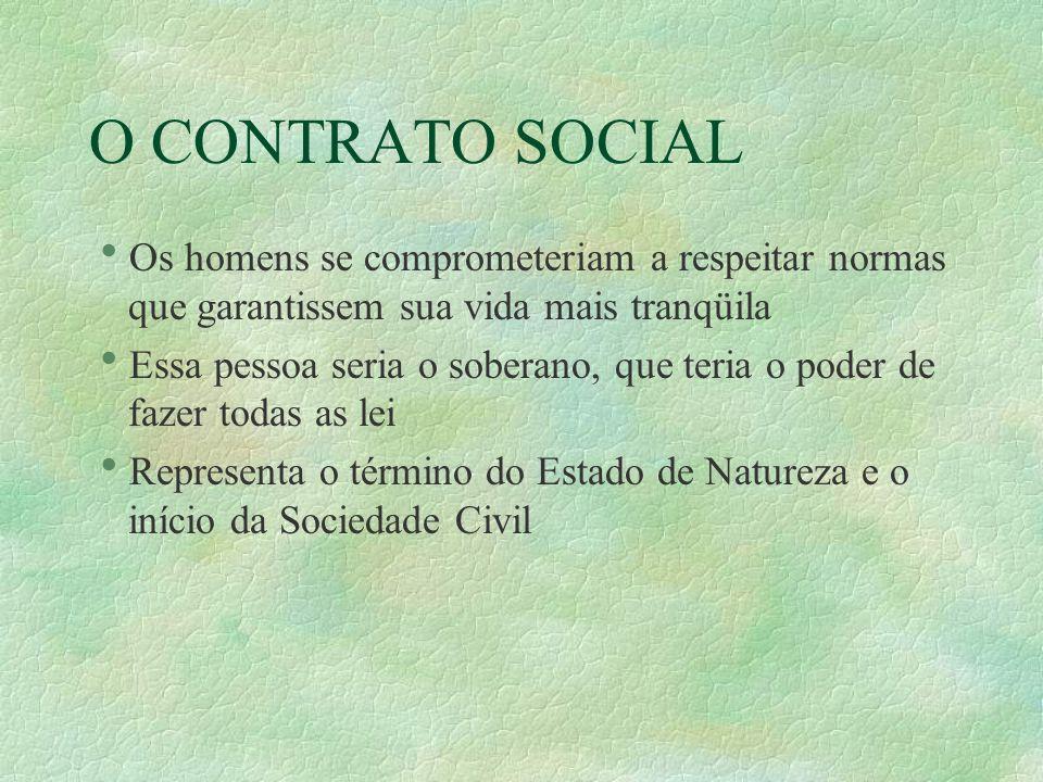O CONTRATO SOCIAL Os homens se comprometeriam a respeitar normas que garantissem sua vida mais tranqüila.