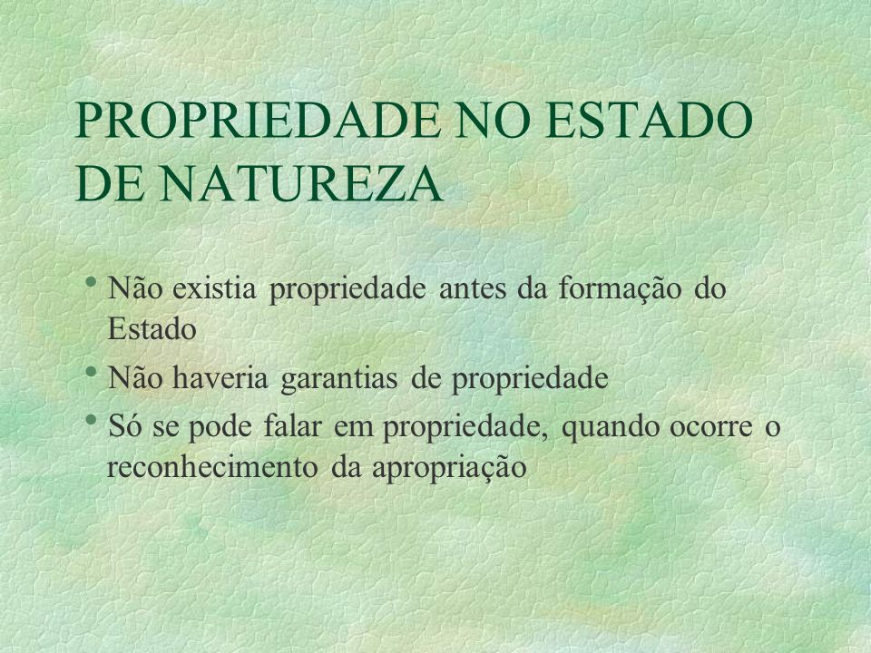 PROPRIEDADE NO ESTADO DE NATUREZA