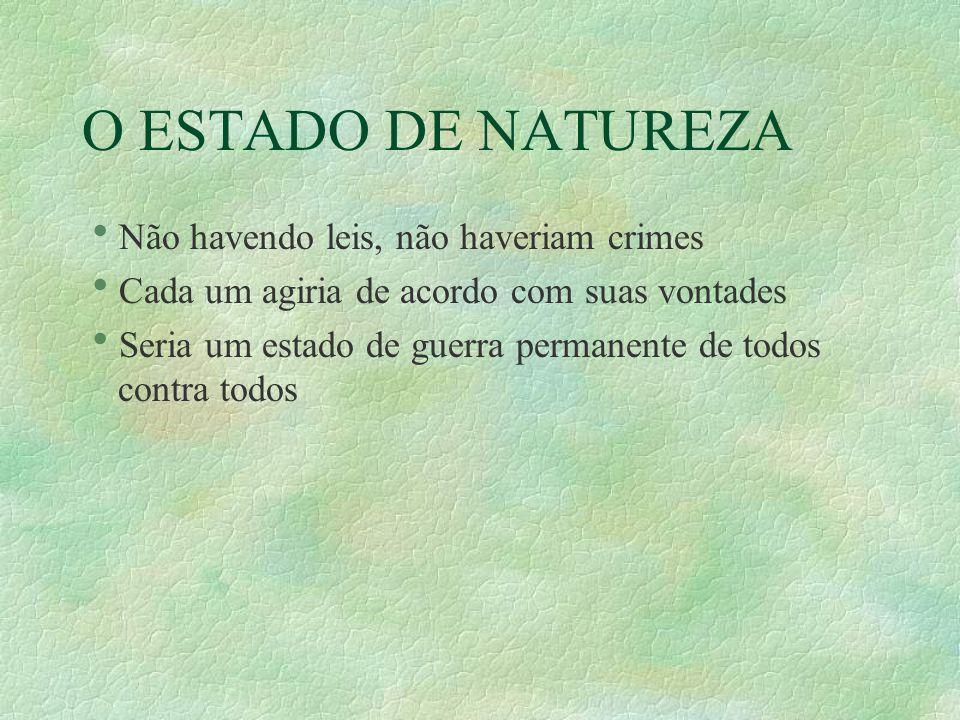 O ESTADO DE NATUREZA Não havendo leis, não haveriam crimes