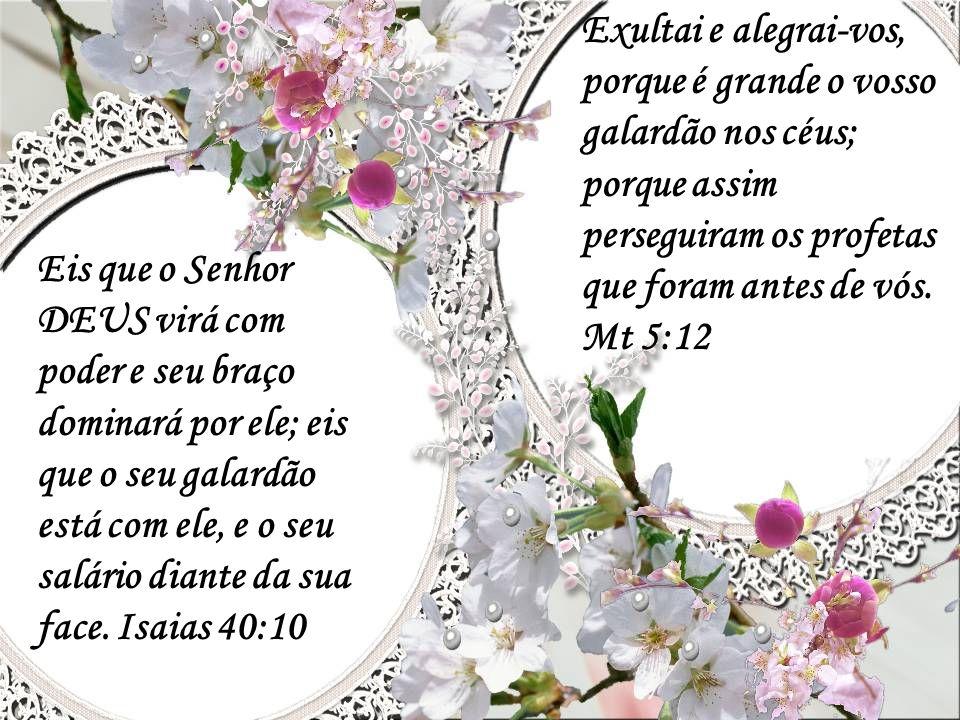 Exultai e alegrai-vos, porque é grande o vosso galardão nos céus; porque assim perseguiram os profetas que foram antes de vós. Mt 5:12