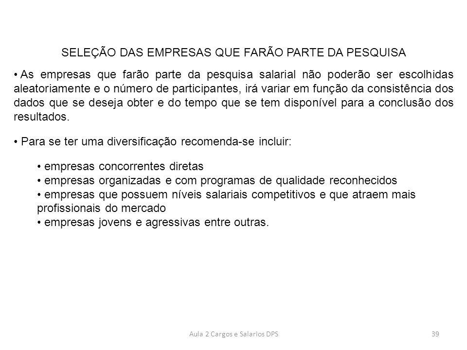 SELEÇÃO DAS EMPRESAS QUE FARÃO PARTE DA PESQUISA